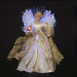 Kurt Adler Ivory/Gold Fiber Optic Led Angel Tree Topper