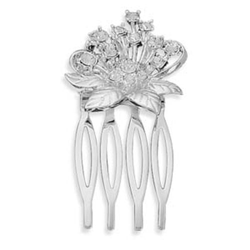 MMA Silver Plated Crystal Flower Fashion Hair Comb