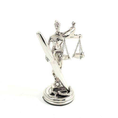 Bey Berk Antique Silver Plated Lady Justice Pen Holder