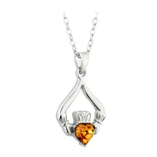 Solvar Rhodium Plated Claddagh Birthstone Pendant- November