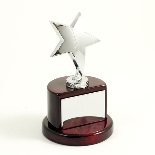 Silver Plated Star Trophy On Lacquered Rosewood Base & Plate