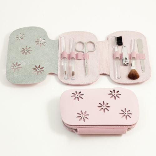 7 Pieces Manicure Set In Pink Leather & Ultra Suede Case