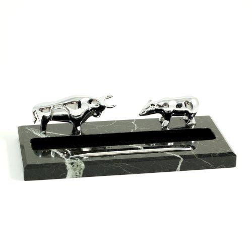 Black Zebra Marble Pen Holder With Silver Plated Bull & Bear