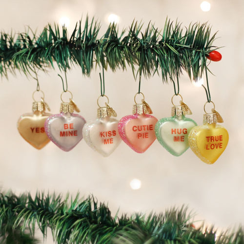 Old World Christmas Conversation Heart Ornament Assorted 6