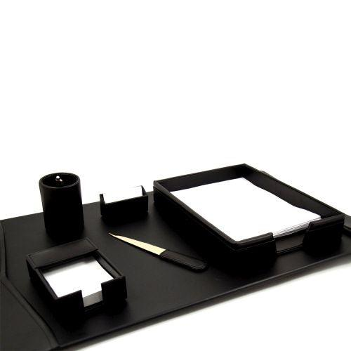 Bey Berk 6 Piece Black Leather Desk Set