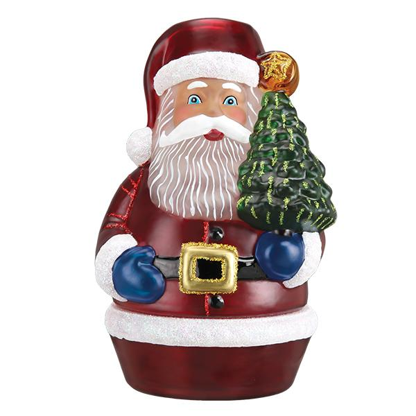 Old World Christmas Santa With Tree Candle Light