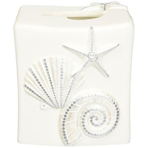 Avanti Linens Sequin Shells Tissue Box Cover