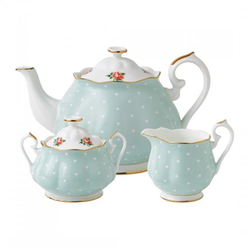 Royal Albert 3-Piece Set: Teapot, Sugar & Creamer Polka Rose