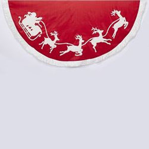 "Kurt Adler 50"" Santa+Reindeer Embroiderd Tree Skirt"