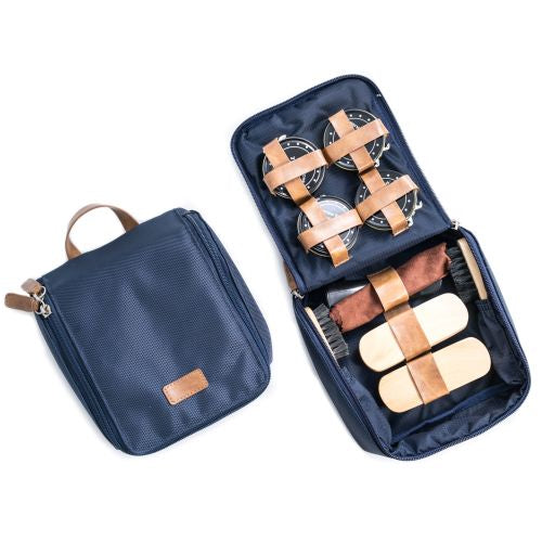 Shoe Shine Kit In Blue Ballistic Nylon With Brown Case