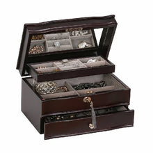 Load image into Gallery viewer, Mele & Co. Davina Locking Wooden Jewelry Box Mahogany Finish