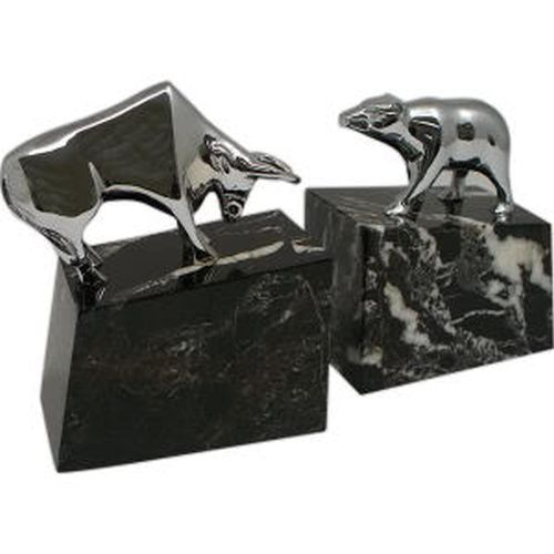 Stock Market Silver Plated Bull & Bear Bookends, Marble Base