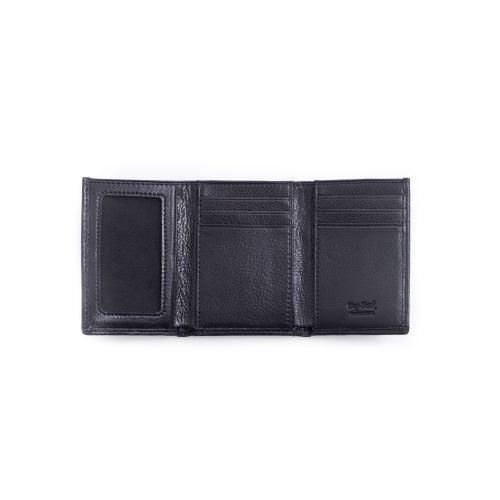 Bey Berk Tri-Fold Black Leather Wallet With Id Window