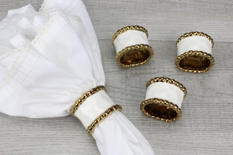 Pampa Bay Golden Salerno Napkin Rings - Set of 4