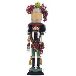 "Kurt Adler 18.9"" Wine Barrel Hat Nutcracker"