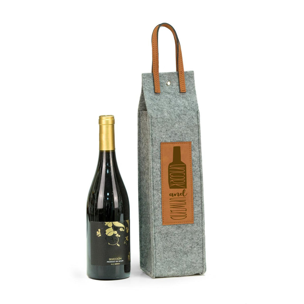 Bey Berk Uncork & Unwind Felt Wine Tote With Brown Accents