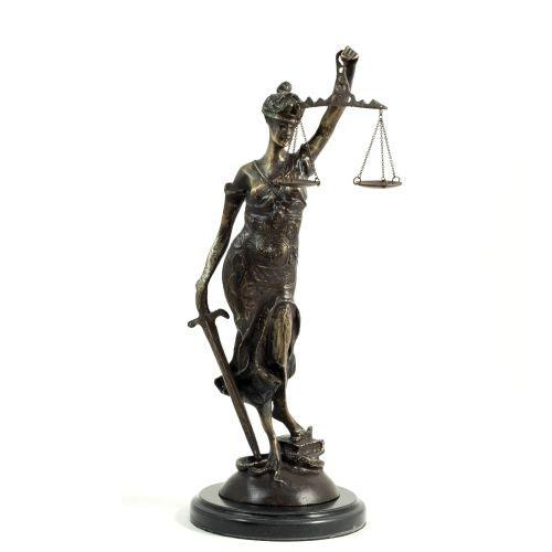 Bey Berk Bronze Lady Justice Sculpture On A Marble Base