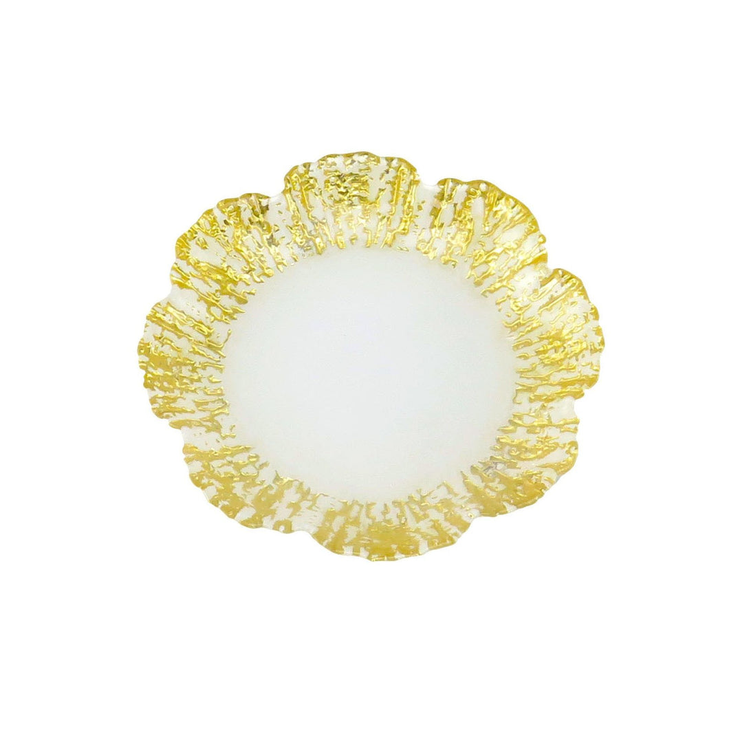 4 Flower Shaped Dessert Milky Plates Scalloped Gold Border
