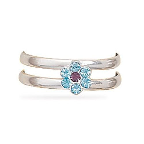 MMA Light Purple and Blue Crystal Flower Toe Ring