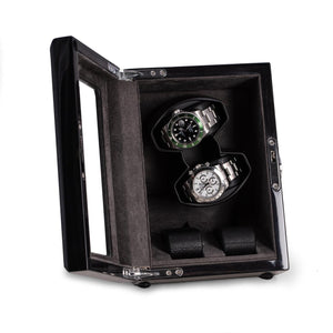 Ash Wood High Lacquer 2 Watch Winder & 2 Watch Storage Case