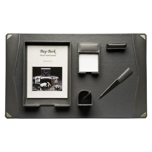 Bey Berk 6 Piece Grey Leather Desk Set