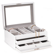 Load image into Gallery viewer, White Lacquer Large Jewelry Chest w/ Multi-Comparment