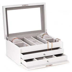 White Lacquer Large Jewelry Chest w/ Multi-Comparment
