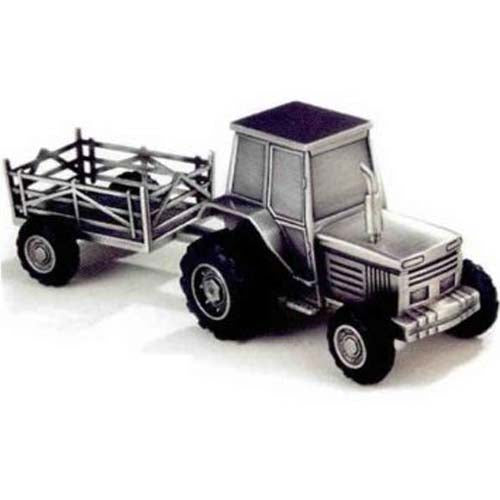 Leeber Tractor Bank With Trailer, Pewter Finish