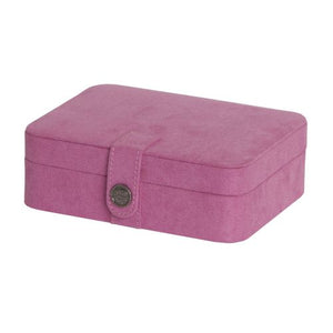 Giana Plush Fabric Jewelry Box With Lift Out Tray In Pink