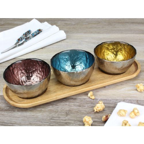 Let's Entertain Set Of 3 Colored Glass Bowls & Tray