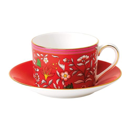 Wedgwood Wonderlust Teacup & Saucer Set Crimson Jewel