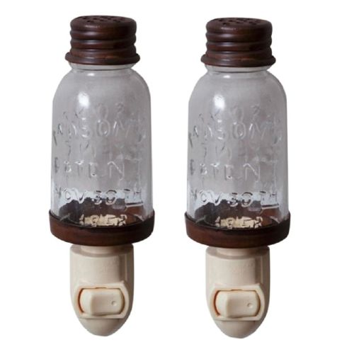 Your Heart's Delight Mini Mason Jar Night Light Rustic Set/2