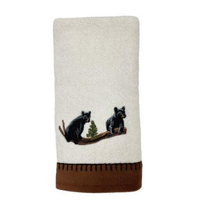 Avanti Linens Black Bear Lodge Embroidered Ivory Hand Towel