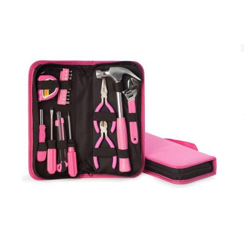 Bey Berk 20 Pc Lady's Tool Set in Zippered Pink Canvas Case