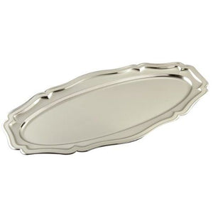 "Leeber Oval Chippendale Tray Nickel Plated, 23.5"" X11.5"""