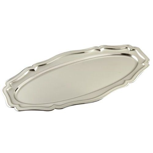 Leeber Oval Chippendale Tray Nickel Plated, 23.5