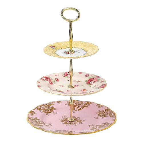 100 Years Cake Stand 3 Tier - Rose Blush & Golden Rose