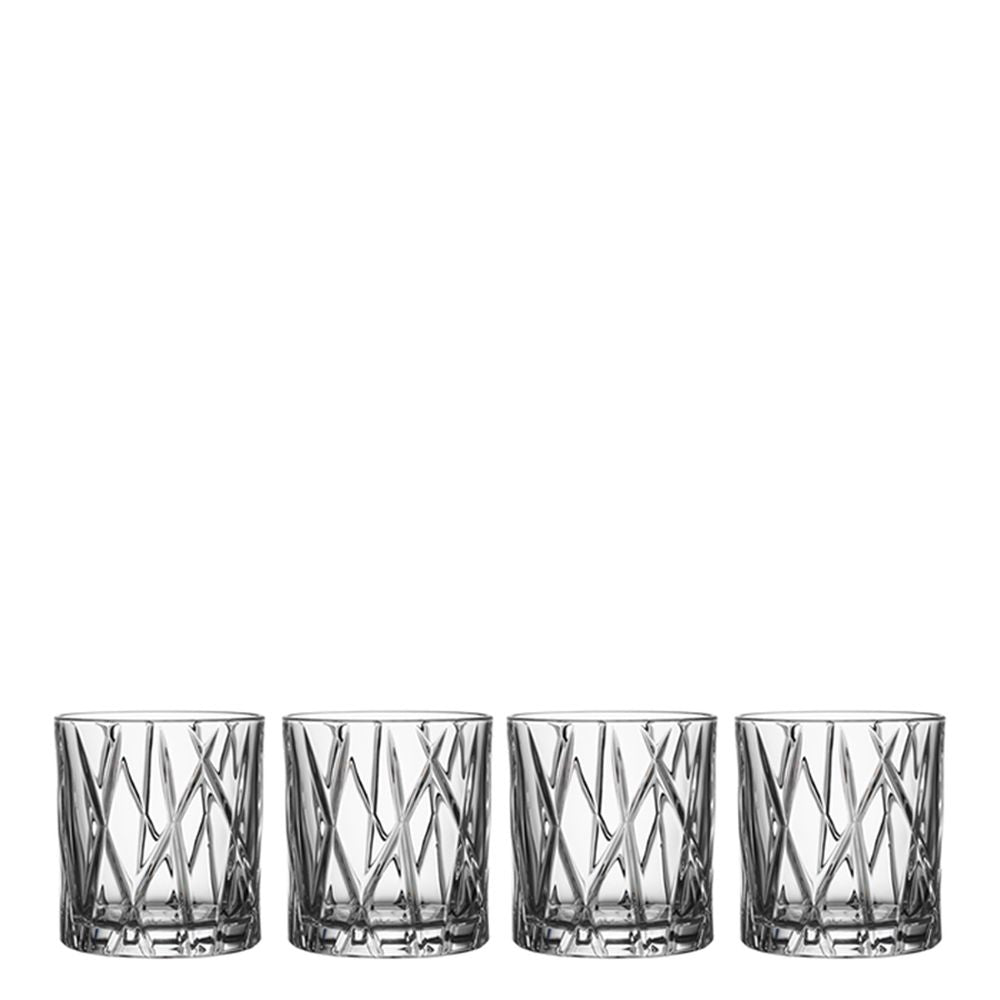 Orrefors City 8 Ounce Old Fashioned Glass Set of 4