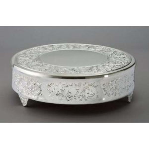 "Leeber Nickel Plated 18"" Round Baroque Cake Plateau"