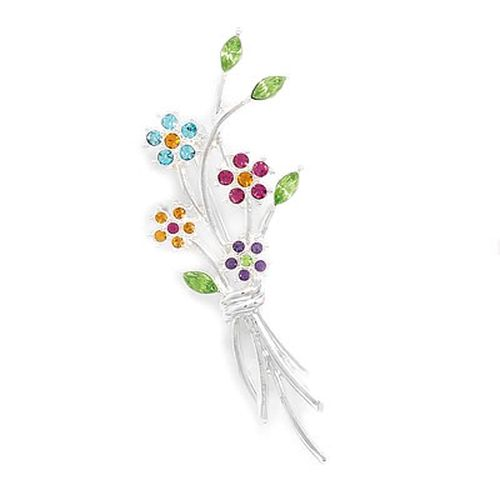 MMA Bouquet Of Flowers Fashion Pin with Multicolor Crystals