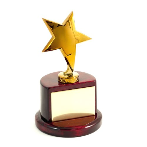 Gold Plated Star Trophy On Lacquered Rosewood Base & Plate