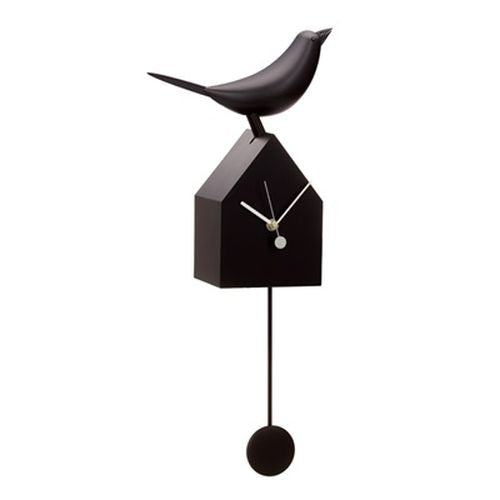 Motion Birdhouse Clock With Removable Pendulum Black