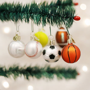 Old World Christmas 6 Assorted Mini Sport Balls Ornament