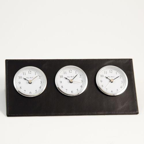 Black Leather Triple Time Zone Clock,