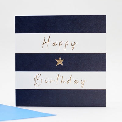Greeting card Happy Birthday blue stripes gold star