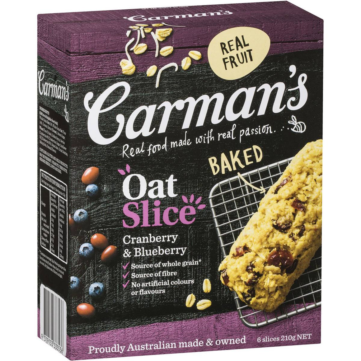Carmans Cranberry and Blueberry Oat Slice 6 Pack