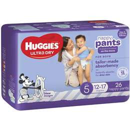 Huggies Nappy Pants Size 5 Boys  26 Pack