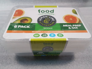 Disposable Food Container & Lid Rectangle 500ml 6pk