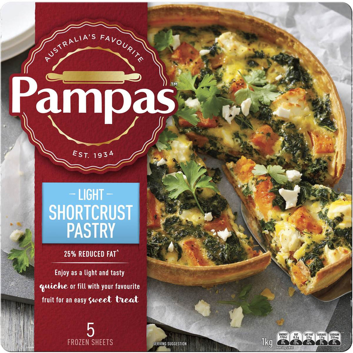 Pampas Light Shortcrust Pastry 5pk