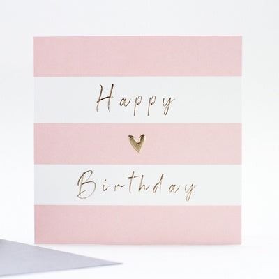 Greeting card Happy Birthday pink stripes gold heart